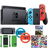 Nintendo Switch 32 GB Console w/Neon Blue & Red Joy-Con (HACSKABAA) w/Super Mario Party + Kart 8 Deluxe + Minecraft + Steering Wheel Switch + 2-Pack Screen Protector + Switch Lime Skin