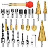 LINGSFIRE Set di punte per trapano svasatore da 26 pezzi, include 8 taglierina per spine, ...