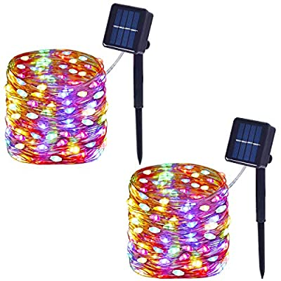 Outdoor Waterproof Solar String Lights, 100-LED with 8 Modes, Durable Super-Bright Light, Copper Wire Solar Powered Fairy Lights for Garden, Party, Christmas, Wedding 2-Pack (Multicolor)