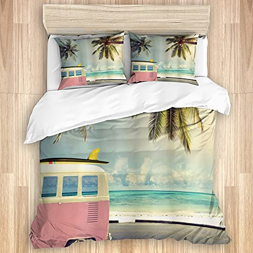 DAOPUDA Washed Cotton Duvet Cover Set,Surf Minivan The Beach Retro Inspired...