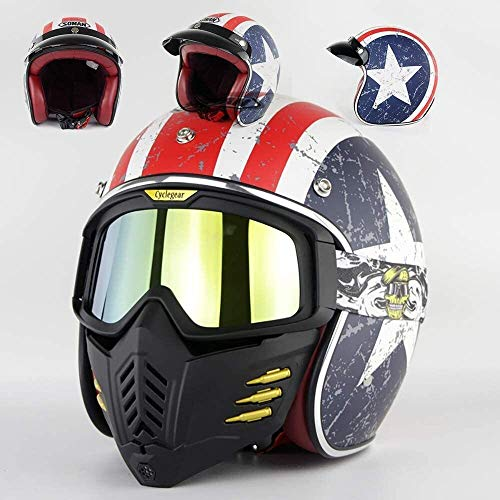 QZMX Casco Casco de la Motocicleta de la Vendimia Aprobado por el Dot/Adulto Casco de Crucero Abierto 3/4 + Casco Jet Gafas máscara Desmontable, Casco de Motocicleta (Size : Large)