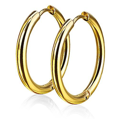 Damen Creolen Kreolen Ohrringe Ohrstecker Edelstahl Autiga® gold 14 mm