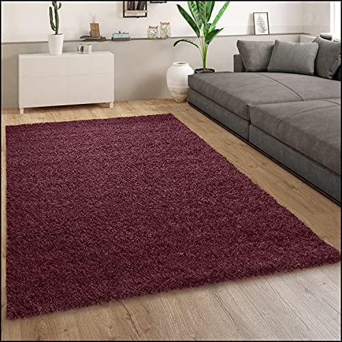 Tapis Shaggy Tapis Salon Shaggy Poil Long Moderne Monochrome Rouge Bordeaux, Dimension:160x220 cm