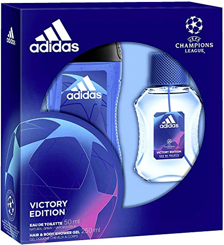 Adidas, Confezione Regalo Uomo UEFA Champions League Victory Edition, Eau De Toilette 50 Ml E Gel Doccia Bagnoschiuma 3In1 250 Ml