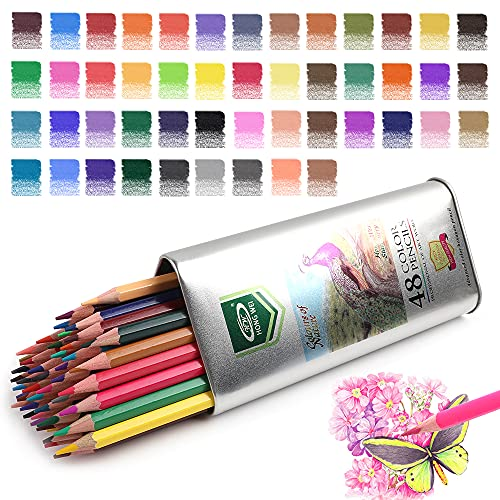 Art Colored Pencils & Drawing Color Pencil Set,for Adults & Kids Beginners and Artist Pencils for Coloring.(48-Color)