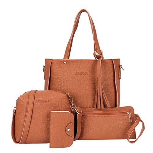 Bangle009 Handtaschen-Set für Damen, mit Quasten, 4 Stück Cross-Body-Bags braun