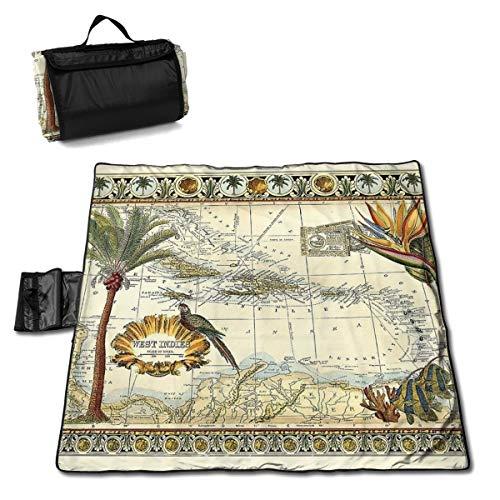 Nonebrand Picknickdecke mit tropischen Landkarten von West Indies, waschbar, faltbar, wasserdicht, für Picknick, Camping, Strand, große Größe 144,8 x 149,9 cm
