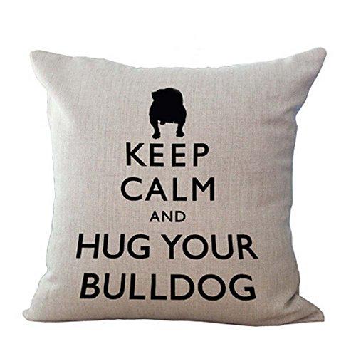 FELENIW Animal Pet Dog French Bulldog Throw Pillow Cover Cushion Case Cotton Linen Material Decorative 18' Square (3)