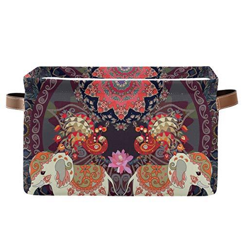 XXNO - Cesto portaoggetti per animali, stile etnico indiano, tribale, con elefante, ideale per riporre oggetti, giocattoli, vestiti e bambini