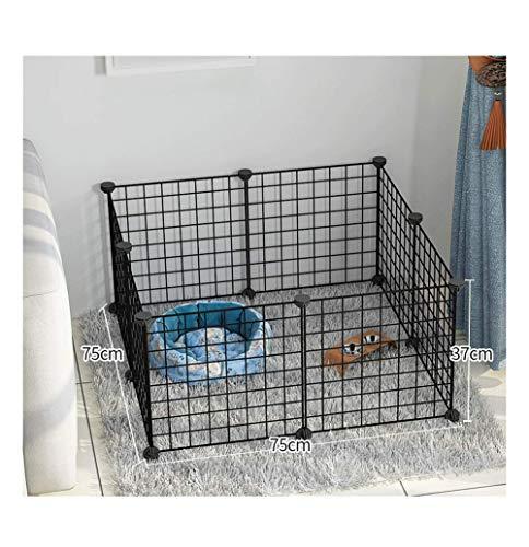 GBY Haustierzaun, Faltbarer Haustierzaun aus Metall für den Innenbereich, geeignet für kleine Hunde, schwarz, 75 * 75 * 37 cm