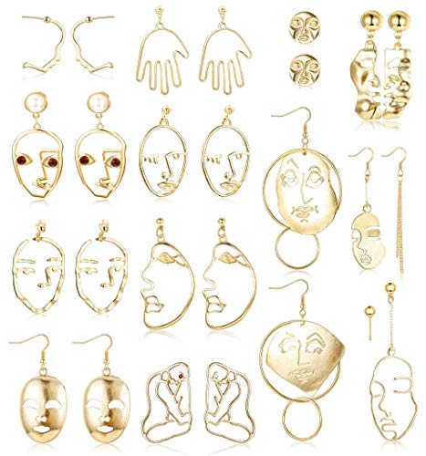 Finrezio 13 Pairs Face Statement Earrings Set for Women Hollow Face Hand Shaped Drop Dangle Earrings Fashion Abstract Art Jewelry Gold Plated