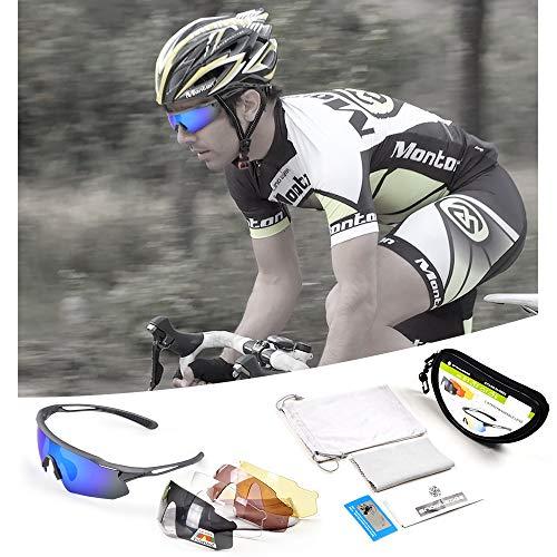 Snowledge Sportbrille Fahrradbrille Herren und Damen Sonnenbrille Erwachsene Sport Radbrille Polarisiert Windschutz Brille Motorradbrille Rahmen TR90 UV400 Schutz - 6