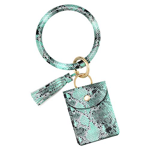 Emibele Wristlet Bracelet Keychain, PU Leather Tassel Bangle Keyring with Credit Card Holder Purse, Large Circle Bangle Key Ring for Women Girls - Snakeskin Green