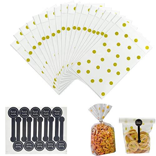 Sachet pour Biscuit Sachet Pochette de Biscuit avec Stickers, 100 Sacs en Plastique Translucide pour Biscuits, Gâteaux, Chocolat, Bonbons