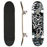ANCHEER Skateboard complète 79×19cm Planche à roulettes 7 Couches d'érable avec Anti-dérapant Roues PU et roulements ABEC-7 pour débutants Enfants Adultes Charge Max:100 kg (Lettre)