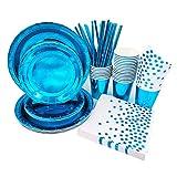 VAINECHAY blu pavone di Stoviglie USA e Getta Forniture per Feste Bicchieri, Tovaglioli Coltelli e Forchette per Compleanni Matrimonio Nascita Battesimo Party 25 Ospiti