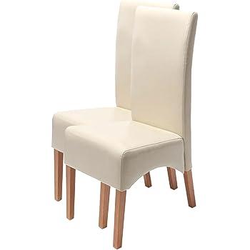 Mendler 2X Esszimmerstuhl Küchenstuhl Stuhl Latina, Leder ~ Creme, helle Beine