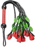 Leder Peitsche mit 9 Rosen CATS Lederpeitsche Schwarz Rot Premium-Qualität