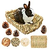 Portable Grass Bed with Grass Balls, Natural Straw Woven Grass Bed Sleeping Pad Bunny Chew Toys Hay Mat for Rabbit Hamster Gerbil Chinchilla Guinea Pig Mice Other Small Animals (Set 1)