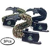 3er Set Survival Armband Feuerstein Messer Kompass Pfeife Sport Camping
