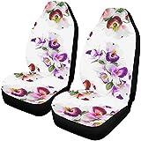 Enoqunt Housses de siège de voiture sièges avant 2 pc motif fleur orchidée imprimer des couleurs douces protecteur de siège de véhicule couvre-tapis de voiture e, voiture