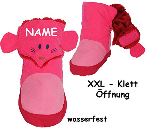 alles-meine.de GmbH alles-meine.de GmbH Thermo - Überziehschuhe / Lauflernschuhe - Maus - rosa & pink - incl. Name - Größe: 3 bis 6 Monate / Gr. 17 - 18 - Fleece gefüttert - mit langem Schaft & ..