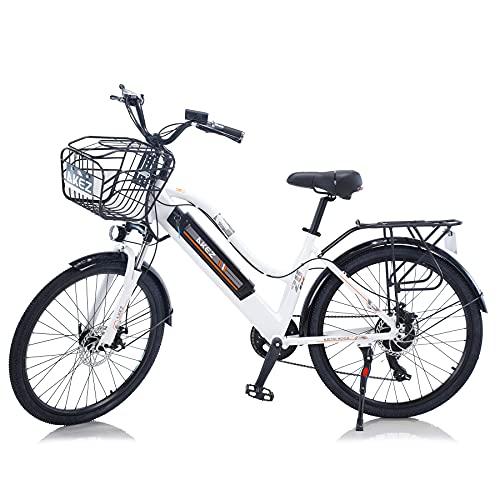 """TAOCI Vélo électrique pour femme adulte tout terrain 26"""" 36 V 250/350 W Shimano 7 vitesses Batterie lithium-ion amovible pour vélo de plein air, voyage, entraînement"""