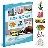3D Pen Mat Paper Stencils - Flower Pot, Pen Holder, School Bus, Bird House, Bicycle Templates Compatible with 3Dmate Base 3D Pen Mat