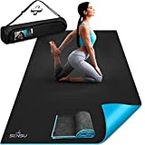 Sensu Large Yoga Mat - 6' x 4' x 9mm Extra Thick Exercise Mat for Yoga, Pilates, Stretching, Cardio Home Gym Floor, Non- Slip Anti Tear Eco-Friendly Workout Mat - Use Without Shoes