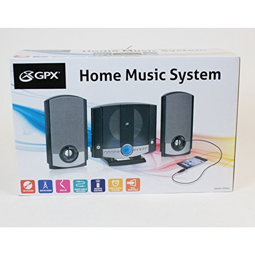 GPX HM3817DTBK Home Music System with Remote and AM/FM Radio black