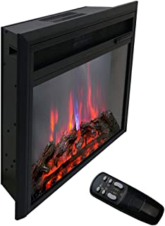 FLAME&SHADE Electric Fireplace Insert, Freestanding or Recessed Stove Heater with Remote Control, Digital Thermostat and Timer 750-1500w, 26 inch