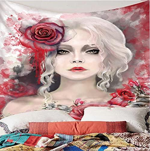 Weibing Tapiz de impresión en Color 3D Estilo Moderno Dibujado a Mano Moda niña patrón de Flores decoración del hogar tapices Arte de Pared para Habitaciones 240(An) x220(H) cm