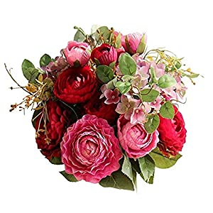 Polaris123 False Flowers Bridesmaids Marriage Bunch of Flowers Fake Ranunculus Rose Flowers Layout Family Wedding Ceremony Beautify (Purple Red)-