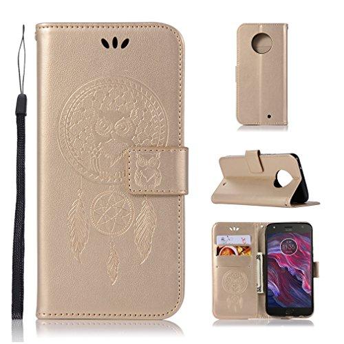 LMAZWUFULM Hülle für Motorola Moto X4 (5,2 Zoll) PU Leder Magnetverschluss Brieftasche Lederhülle Eule & Traumfänger Muster Standfunktion Ledertasche Flip Cover für Motorola X4 Gold