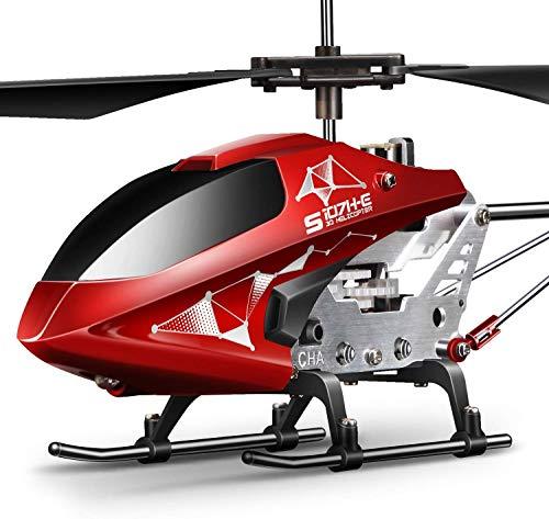Hubschrauber ferngesteuert Helikopter Fernbedienung RC Helicopter Indoor Flugzeug Geschenk Kinder S107H-E 3.5 Kanal 2.4 Ghz LED Leucht Gyro Höhe halten Rot