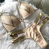 Bikini de trajes de baño de mujer Sexy bikini extrema vendaje ajustado 2020 nueva mujer de oro brillante Negro empuje brasileño hasta el traje de baño de las mujeres del traje de baño Biquini acolchad