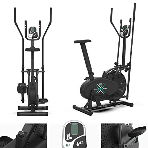 We R Sports Deluxe 2-IN-1 Cross Trainer & Exercise Bike Fitness Cardio Workout With Seat (Black)