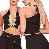 Mujeres Sexy Halter Crop Tops Y2k V cuello Patchwork correas Tank Tops E-Girls verano sin espalda Leopard Camis Streetwear