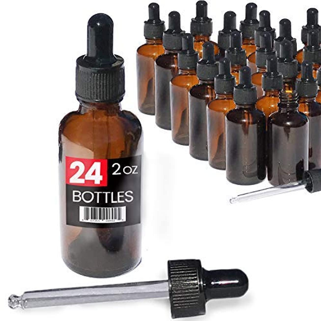 爆風良性ループ2oz Premium Dropper Bottles (24 pack) - Great for Essential Oils - Amber 2 oz Glass - Glass Eye Dropper - Guaranteed Non-Break Shipping [並行輸入品]