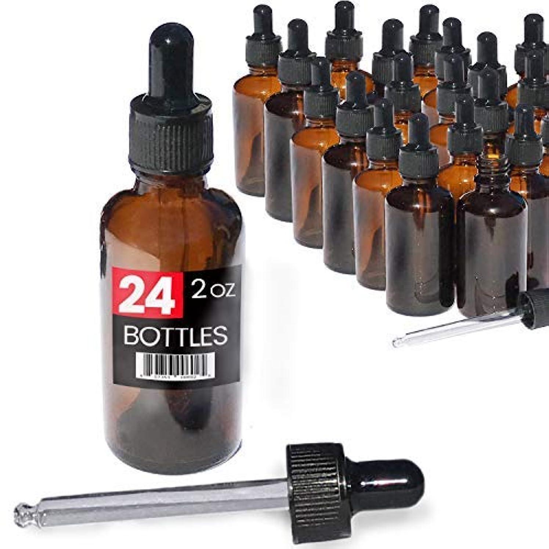 遊具アート宝石2oz Premium Dropper Bottles (24 pack) - Great for Essential Oils - Amber 2 oz Glass - Glass Eye Dropper - Guaranteed Non-Break Shipping [並行輸入品]