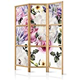 murando - Biombo Flores Rosas 135x171 cm 3 Paneles Lienzo de Tejido no Tejido Tela sintética Separador Madera Design de Moda Hecho a Mano Deco Home Office Japón b-B-0379-z-b