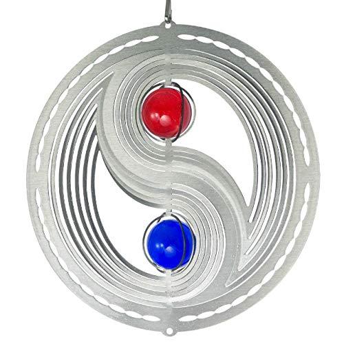 CIM Mobile en Acier Inoxydable - Orbit Yin Yang 180 Frame - Ø 18 cm - Bille colorée 2X Ø 3 cm - Inclus Fil en Nylon, Crochet et émerillon à roulement à Billes