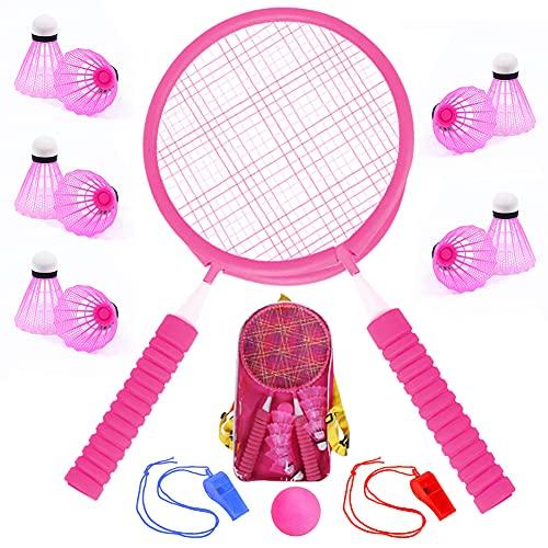 16-in-1 Badminton-Set für Kinder, Badminton-Schläger, Set mit 2 und 12 Federbällen, Kinder-Badmintonschläger mit Rucksack für Indoor-Outdoor-Spiele, Pink