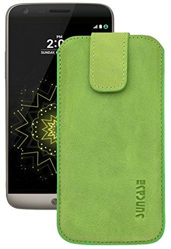 Suncase ECHT Ledertasche Leder Etui für LG G5 | LG G5 SE (mit Rückzugsfunktion & Verschluss) antik-kiwi grün