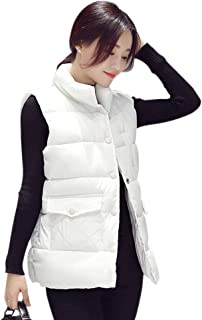 XFentech Women Winter Gilet - Sleeveless Down Vest Quilted Padded Stand Collar Zip Up Gilet