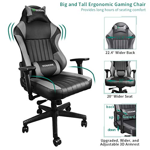 YITAHOME Big and Tall Racing Gaming Chair - High Back Massage Computer Game Chair PU Leather Desk Office Chair with 3D Adjustable Armrests (Deluxe Black) black chair gaming