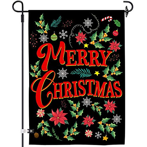AOKDEER Merry Christmas Garden Flag,Burlap Double Sided Winter House Flag,Welcome Xmas Flags,Outdoor Flag Sign with Snow Poinsettia Banners Farmhouse Garden Yard Decorations for The Home 12.5×18 Inch