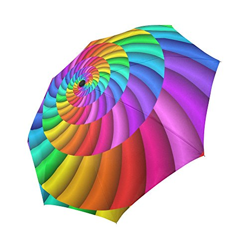 INTERESTPRINT Abstract Rainbow Swirl Spiral Windproof Auto Open and Close Foldable Umbrella, Psychedelic Tie Dye Lightweight Portable Outdoor Sun Umbrella with UV Protection