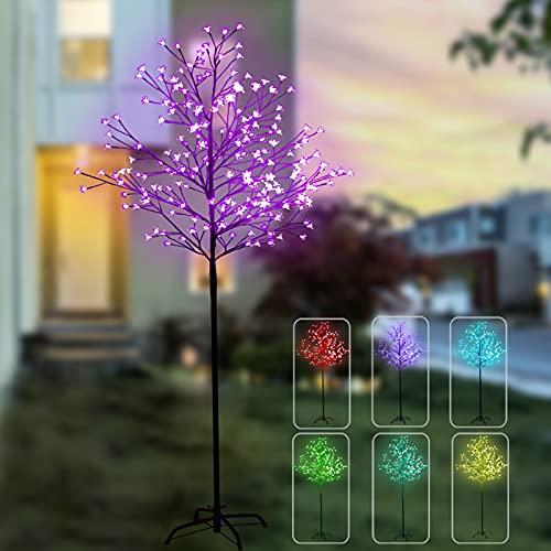 7 pies 224 luces LED que cambian de color de cerezo, árbol LED iluminado con control remoto, árboles artificiales con luces para decoración del hogar, interior, exterior, fiesta, boda, Navidad