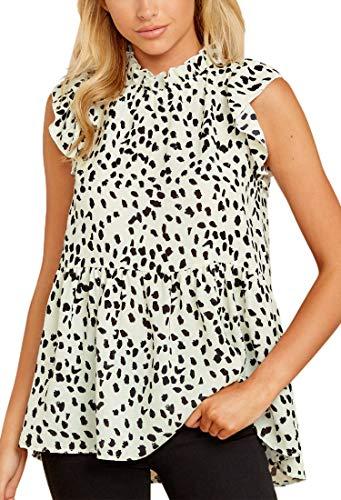 Spec4Y Damen Bluse Sommer Elegant Ärmellos Tunika Shirt Stehkragen Leopardenmuster Hemd Locker Oberteile Tops Weiß Large